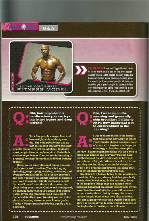 Top Fitness Model Obi Obadike's Physique Q and A Health and Fitness Column- May issue