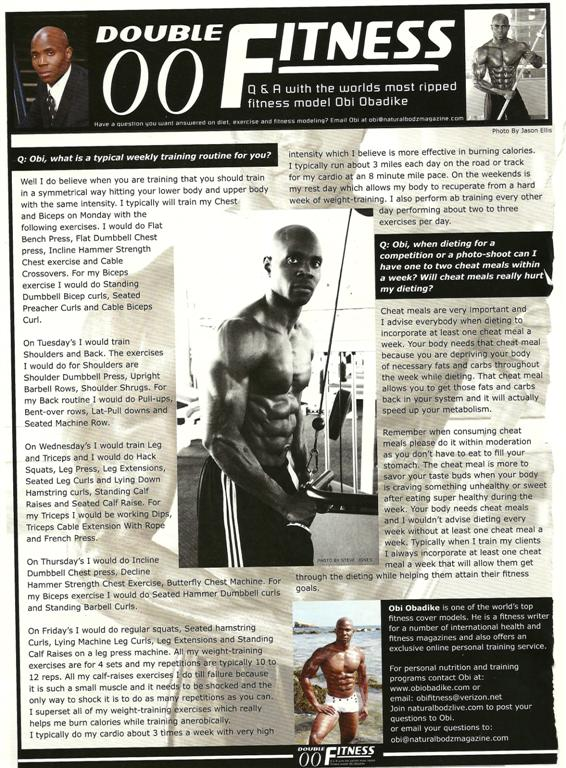 TopFitness ModelObi Obadike'sAustralianNatural BodzQandAColumn